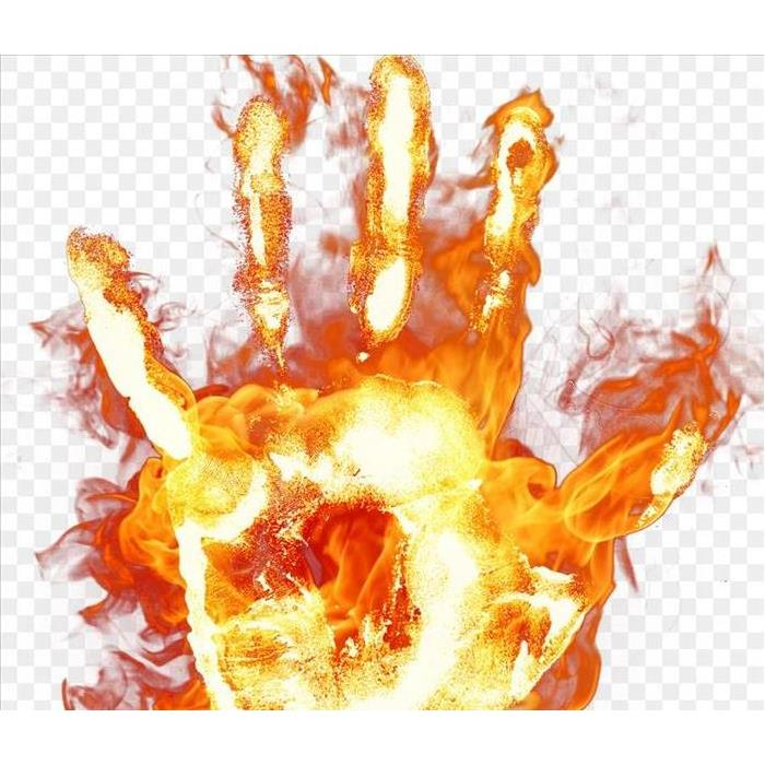 A hand print on fire